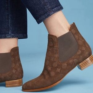 Anthropologie Brown Embossed Chelsea Boots